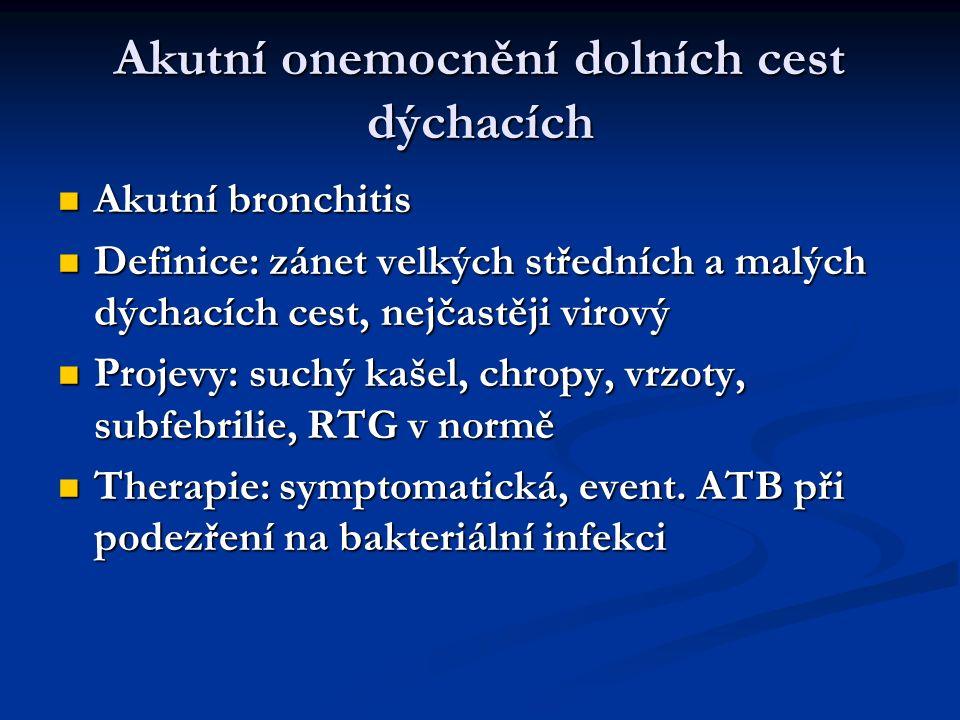 Akutní onemocnění dolních cest dýchacích Akutní bronchitis Akutní bronchitis Definice: zánet velkých středních a malých dýchacích cest, nejčastěji vir