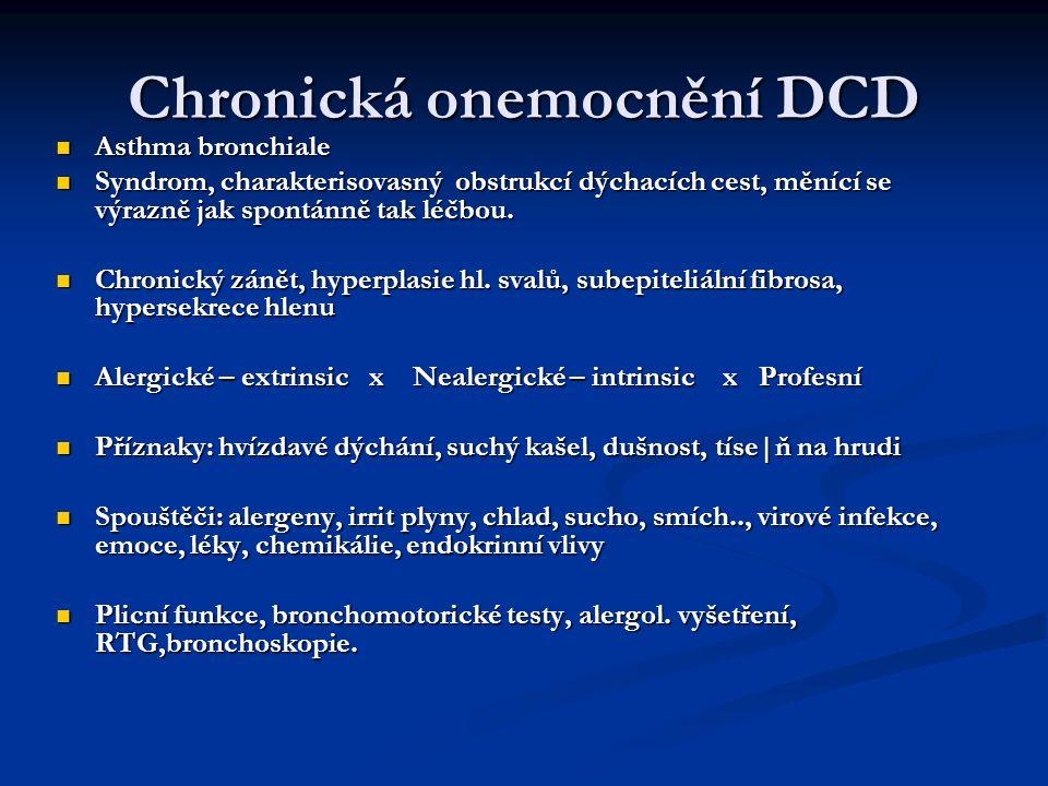 Chronická onemocnění DCD Asthma bronchiale Asthma bronchiale Syndrom, charakterisovasný obstrukcí dýchacích cest, měnící se výrazně jak spontánně tak