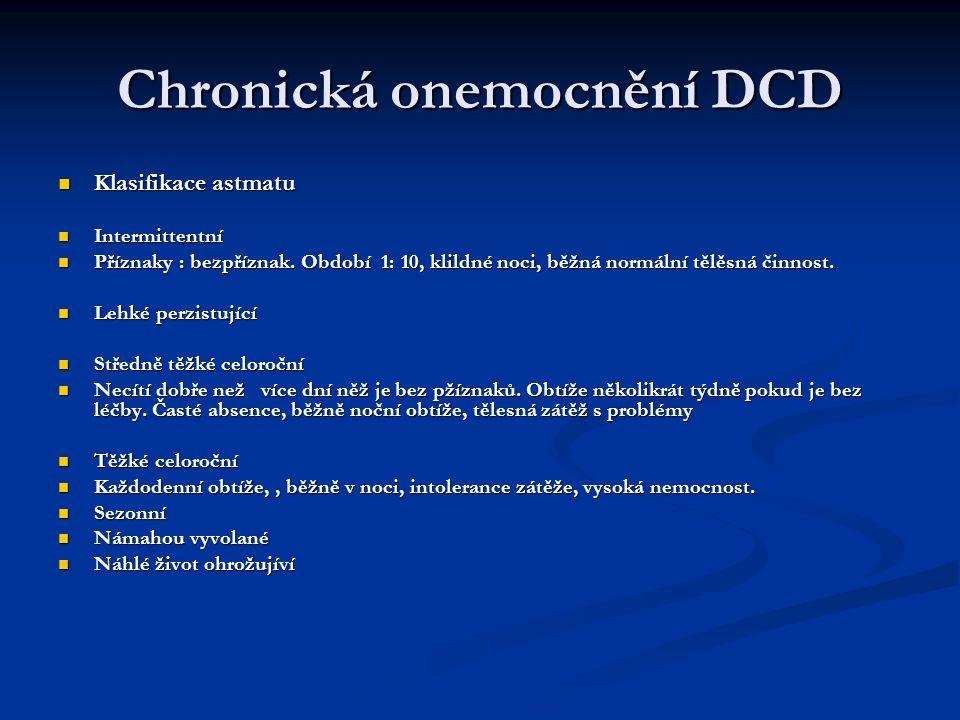 Chronická onemocnění DCD Klasifikace astmatu Klasifikace astmatu Intermittentní Intermittentní Příznaky : bezpříznak. Období 1: 10, klildné noci, běžn