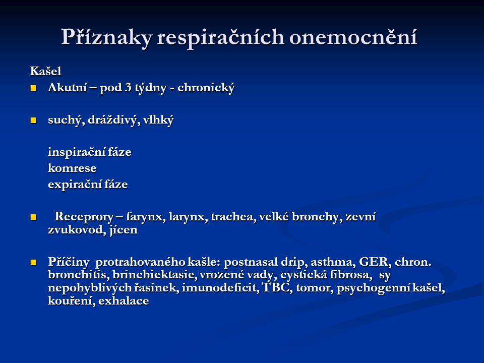Příznaky respiračních onemocnění Dušnost Dušnost Subjektivní pocit ztíženého dýchání, nedostatku vzduchu Subjektivní pocit ztíženého dýchání, nedostatku vzduchu Akutní – aspirace, asthma, infekce – laryngitis, epiglottitis, bronchiolitis, pneumonie, kardiální, neuromuskul.