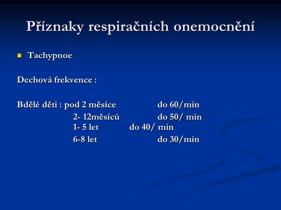 Příznaky respiračních onemocnění Tachypnoe Tachypnoe Dechová frekvence : Bdělé děti : pod 2 měsícedo 60/min 2- 12měsícůdo 50/ min 1- 5 letdo 40/ min 6