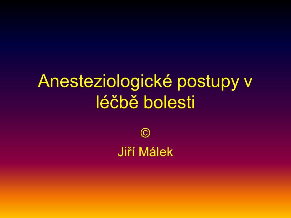 Anesteziologické postupy v léčbě bolesti © Jiří Málek