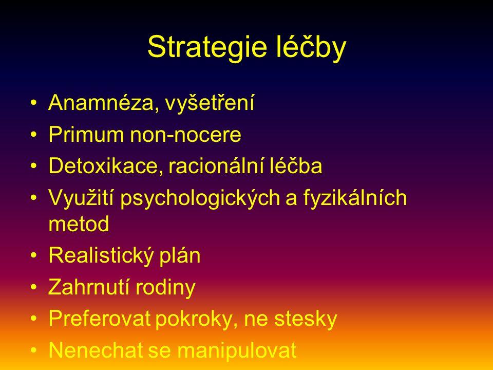 Strategie léčby Anamnéza, vyšetření Primum non-nocere Detoxikace, racionální léčba Využití psychologických a fyzikálních metod Realistický plán Zahrnu