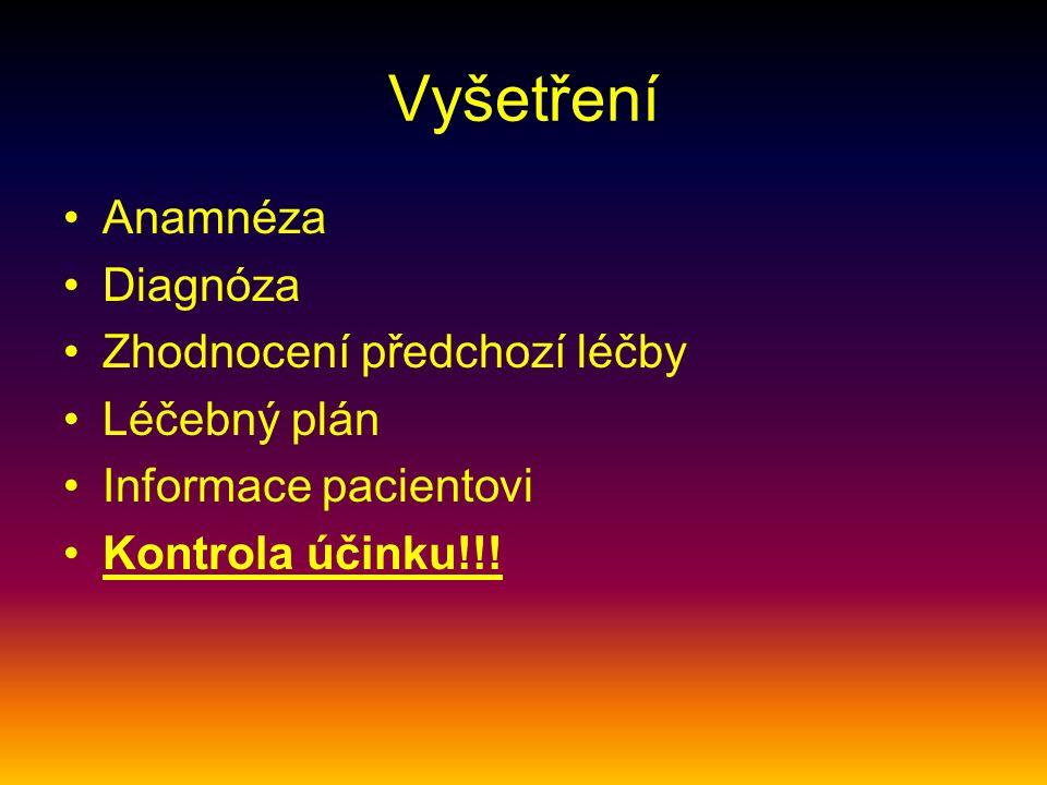Vyšetření Anamnéza Diagnóza Zhodnocení předchozí léčby Léčebný plán Informace pacientovi Kontrola účinku!!!