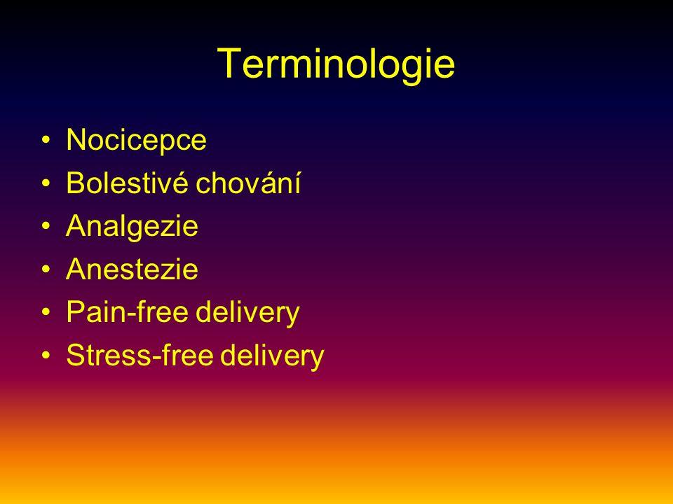 Terminologie Nocicepce Bolestivé chování Analgezie Anestezie Pain-free delivery Stress-free delivery