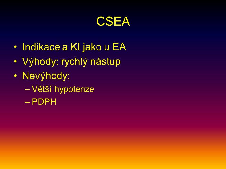 CSEA Indikace a KI jako u EA Výhody: rychlý nástup Nevýhody: –Větší hypotenze –PDPH