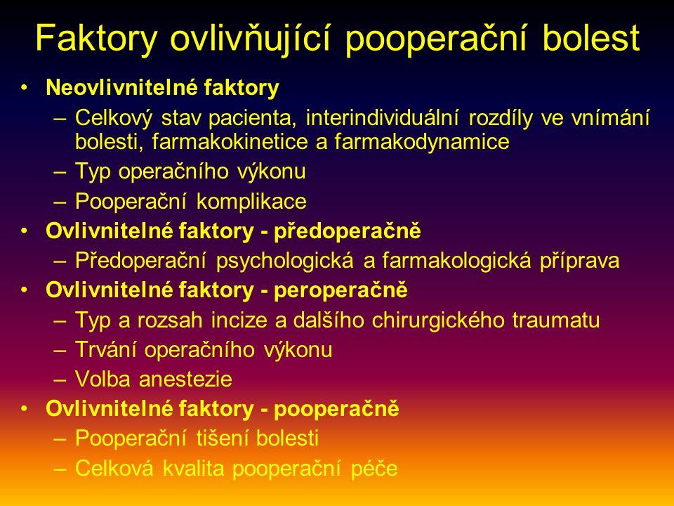 Faktory ovlivňující pooperační bolest Neovlivnitelné faktory –Celkový stav pacienta, interindividuální rozdíly ve vnímání bolesti, farmakokinetice a farmakodynamice –Typ operačního výkonu –Pooperační komplikace Ovlivnitelné faktory - předoperačně –Předoperační psychologická a farmakologická příprava Ovlivnitelné faktory - peroperačně –Typ a rozsah incize a dalšího chirurgického traumatu –Trvání operačního výkonu –Volba anestezie Ovlivnitelné faktory - pooperačně –Pooperační tišení bolesti –Celková kvalita pooperační péče