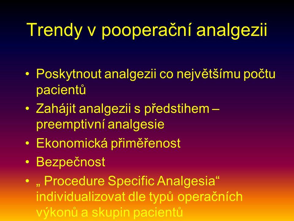 """Trendy v pooperační analgezii Poskytnout analgezii co největšímu počtu pacientů Zahájit analgezii s předstihem – preemptivní analgesie Ekonomická přiměřenost Bezpečnost """" Procedure Specific Analgesia individualizovat dle typů operačních výkonů a skupin pacientů"""