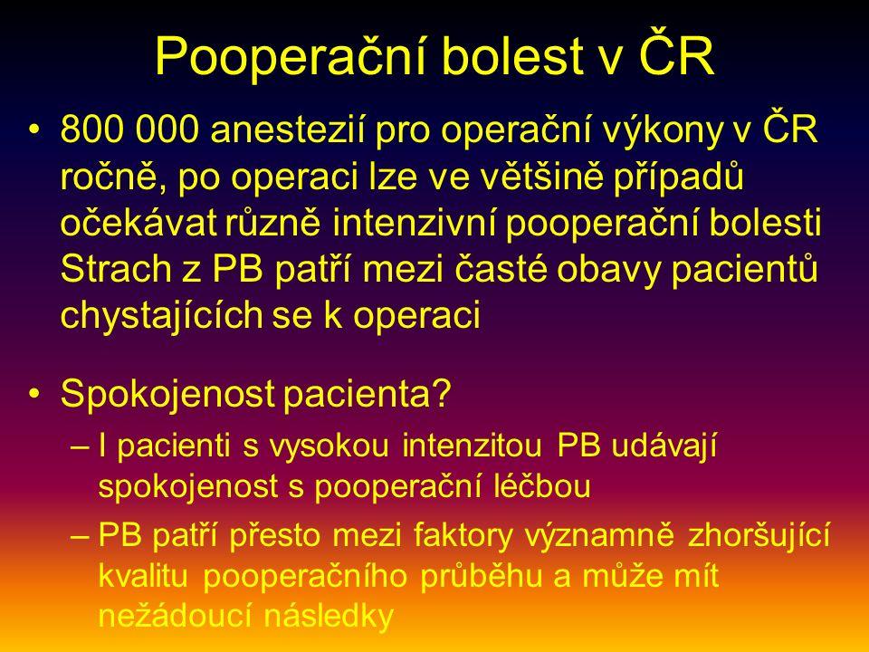 Pooperační bolest v ČR 800 000 anestezií pro operační výkony v ČR ročně, po operaci lze ve většině případů očekávat různě intenzivní pooperační bolesti Strach z PB patří mezi časté obavy pacientů chystajících se k operaci Spokojenost pacienta.