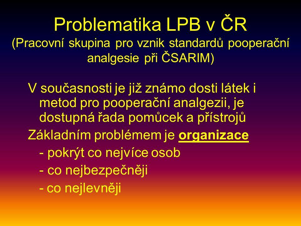 Problematika LPB v ČR (Pracovní skupina pro vznik standardů pooperační analgesie při ČSARIM) V současnosti je již známo dosti látek i metod pro pooperační analgezii, je dostupná řada pomůcek a přístrojů Základním problémem je organizace - pokrýt co nejvíce osob - co nejbezpečněji - co nejlevněji
