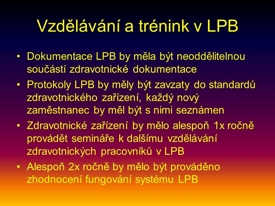 Vzdělávání a trénink v LPB Dokumentace LPB by měla být neoddělitelnou součástí zdravotnické dokumentace Protokoly LPB by měly být zavzaty do standardů zdravotnického zařízení, každý nový zaměstnanec by měl být s nimi seznámen Zdravotnické zařízení by mělo alespoň 1x ročně provádět semináře k dalšímu vzdělávání zdravotnických pracovníků v LPB Alespoň 2x ročně by mělo být prováděno zhodnocení fungování systému LPB