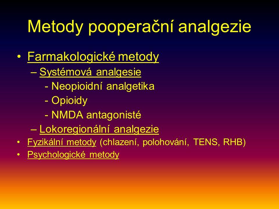 Metody pooperační analgezie Farmakologické metody –Systémová analgesie - Neopioidní analgetika - Opioidy - NMDA antagonisté –Lokoregionální analgezie Fyzikální metody (chlazení, polohování, TENS, RHB) Psychologické metody