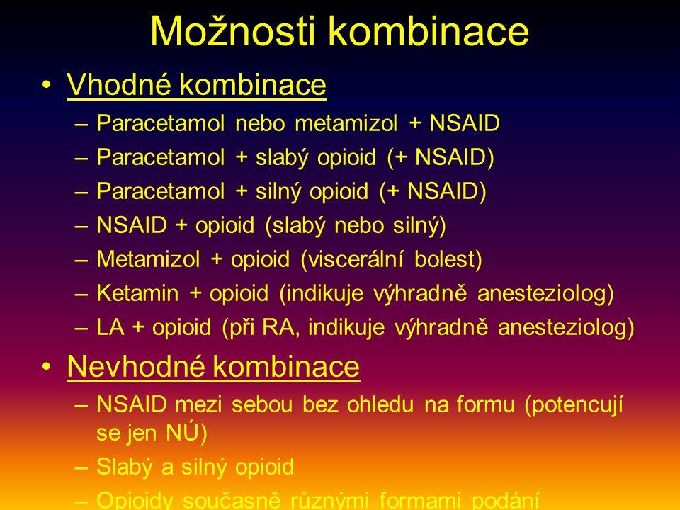Možnosti kombinace Vhodné kombinace –Paracetamol nebo metamizol + NSAID –Paracetamol + slabý opioid (+ NSAID) –Paracetamol + silný opioid (+ NSAID) –NSAID + opioid (slabý nebo silný) –Metamizol + opioid (viscerální bolest) –Ketamin + opioid (indikuje výhradně anesteziolog) –LA + opioid (při RA, indikuje výhradně anesteziolog) Nevhodné kombinace –NSAID mezi sebou bez ohledu na formu (potencují se jen NÚ) –Slabý a silný opioid –Opioidy současně různými formami podání