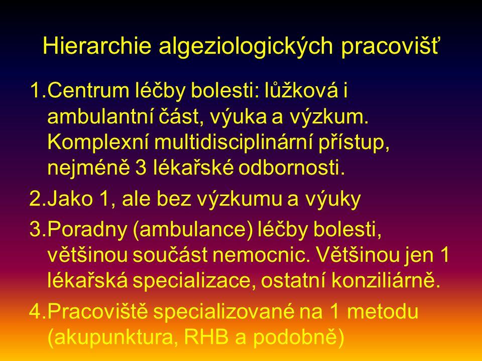 Hierarchie algeziologických pracovišť 1.Centrum léčby bolesti: lůžková i ambulantní část, výuka a výzkum. Komplexní multidisciplinární přístup, nejmén