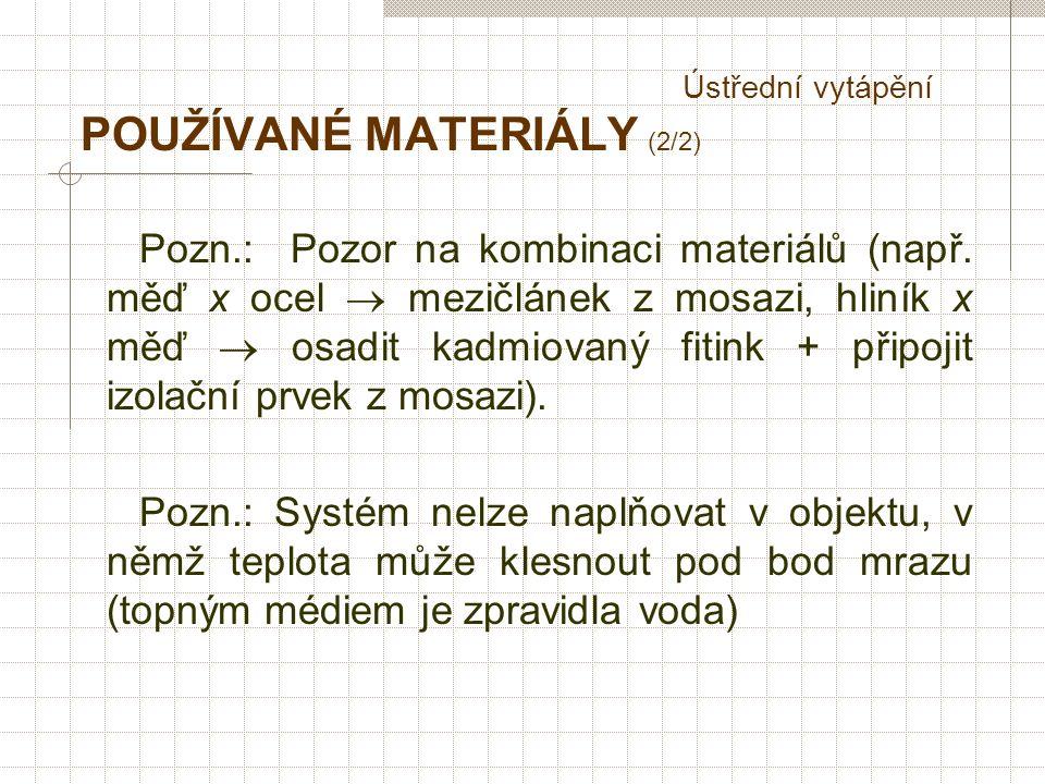 Ústřední vytápění POUŽÍVANÉ MATERIÁLY (2/2) Pozn.: Pozor na kombinaci materiálů (např.
