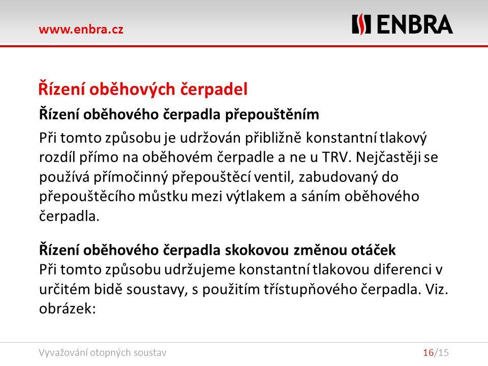 www.enbra.cz 24.9.2016Vyvažování otopných soustav16/15 Řízení oběhových čerpadel Řízení oběhového čerpadla přepouštěním Při tomto způsobu je udržován přibližně konstantní tlakový rozdíl přímo na oběhovém čerpadle a ne u TRV.