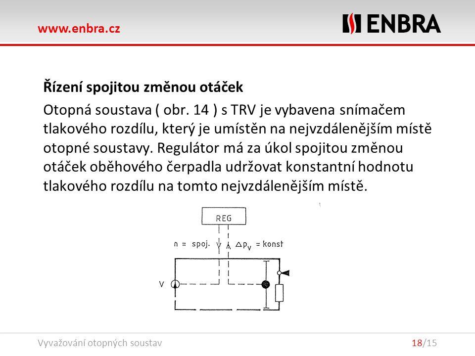 www.enbra.cz 24.9.2016Vyvažování otopných soustav18/15 Řízení spojitou změnou otáček Otopná soustava ( obr.