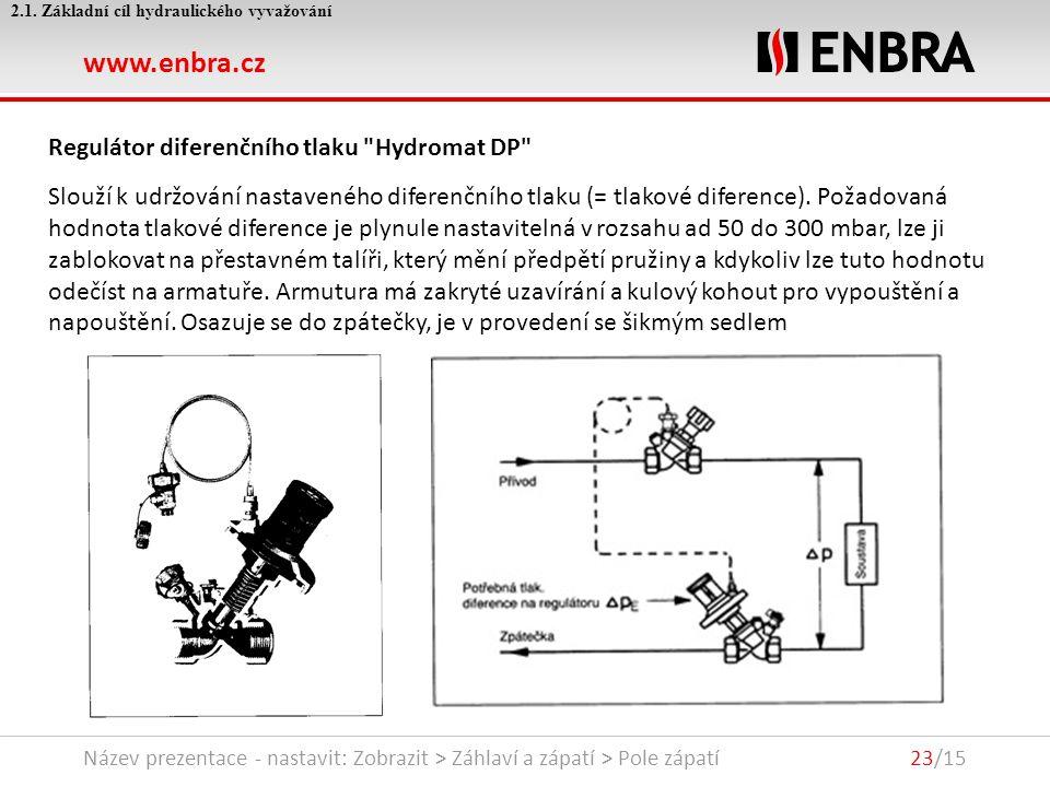 www.enbra.cz 24.9.2016Název prezentace - nastavit: Zobrazit > Záhlaví a zápatí > Pole zápatí23/15 2.1.