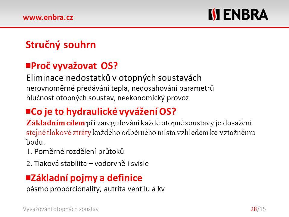 www.enbra.cz Vyvažování otopných soustav28/15 Stručný souhrn Proč vyvažovat OS.