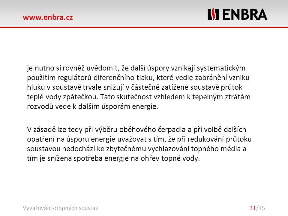 www.enbra.cz Vyvažování otopných soustav31/15 je nutno si rovněž uvědomit, že další úspory vznikají systematickým použitím regulátorů diferenčního tlaku, které vedle zabránění vzniku hluku v soustavě trvale snižují v částečně zatížené soustavě průtok teplé vody zpátečkou.