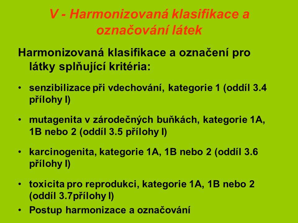 V - Harmonizovaná klasifikace a označování látek Harmonizovaná klasifikace a označení pro látky splňující kritéria: senzibilizace při vdechování, kategorie 1 (oddíl 3.4 přílohy I) mutagenita v zárodečných buňkách, kategorie 1A, 1B nebo 2 (oddíl 3.5 přílohy I) karcinogenita, kategorie 1A, 1B nebo 2 (oddíl 3.6 přílohy I) toxicita pro reprodukci, kategorie 1A, 1B nebo 2 (oddíl 3.7přílohy I) Postup harmonizace a označování