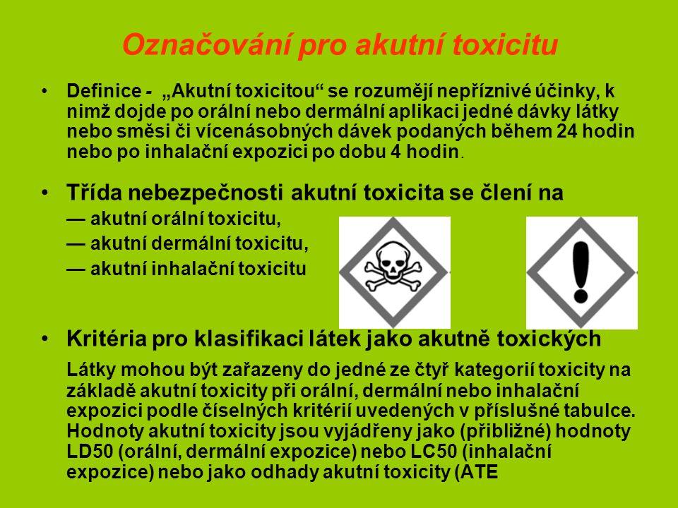 """Označování pro akutní toxicitu Definice - """"Akutní toxicitou se rozumějí nepříznivé účinky, k nimž dojde po orální nebo dermální aplikaci jedné dávky látky nebo směsi či vícenásobných dávek podaných během 24 hodin nebo po inhalační expozici po dobu 4 hodin."""