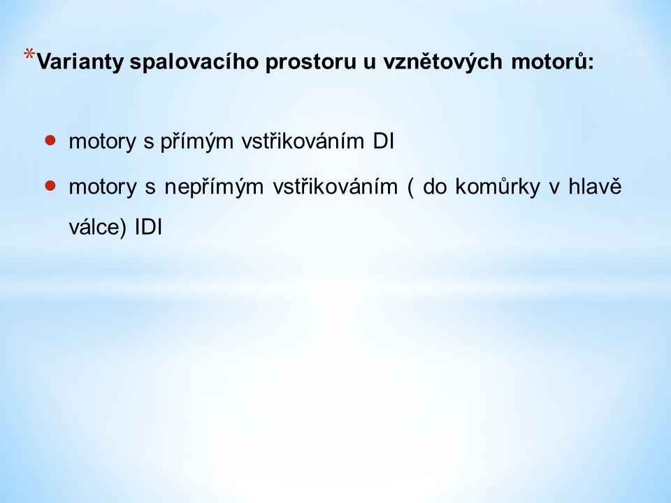 * Varianty spalovacího prostoru u vznětových motorů:  motory s přímým vstřikováním DI  motory s nepřímým vstřikováním ( do komůrky v hlavě válce) IDI
