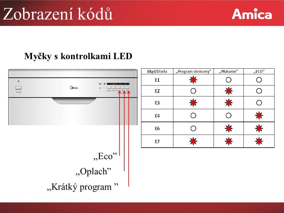 """Zobrazení kódů Myčky s kontrolkami LED """"Eco """"Oplach """"Krátký program"""