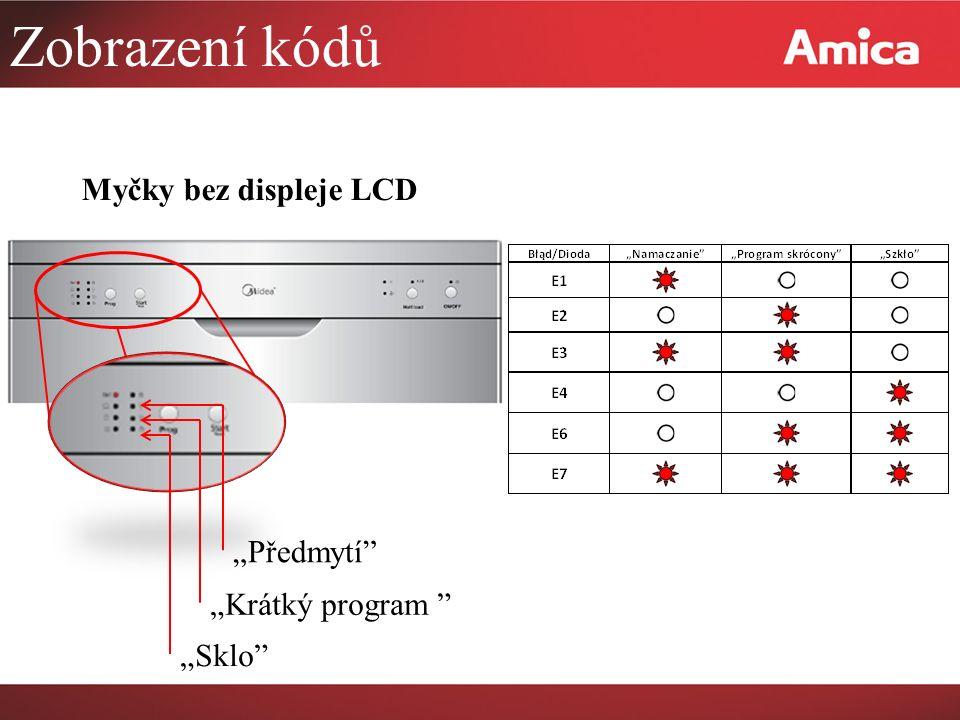 """Zobrazení kódů Myčky bez displeje LCD """"Předmytí """"Krátký program """"Sklo"""