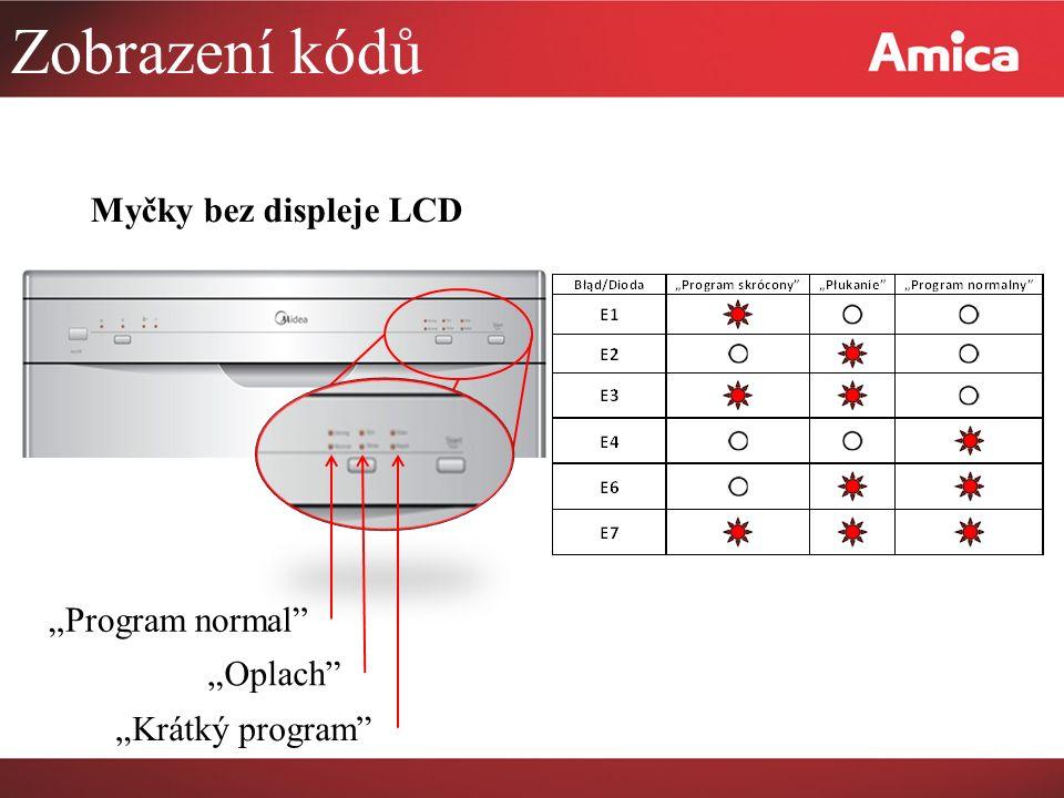 """Zobrazení kódů Myčky bez displeje LCD """"Program normal """"Oplach """"Krátký program"""