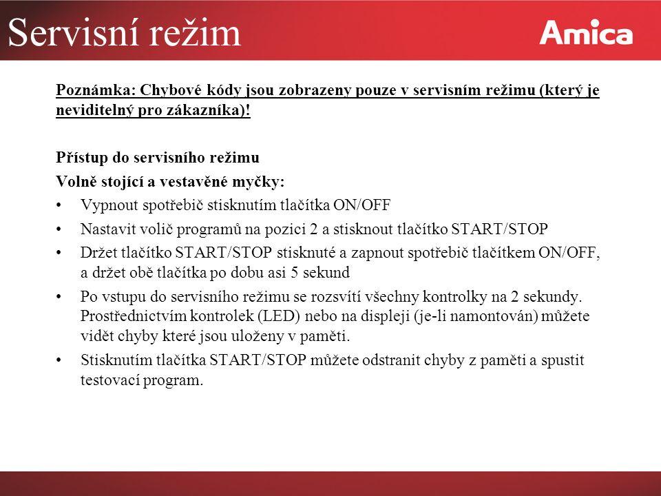 Servisní režim Poznámka: Chybové kódy jsou zobrazeny pouze v servisním režimu (který je neviditelný pro zákazníka).