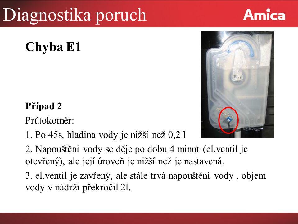 Diagnostika poruch Chyba E1 Případ 2 Průtokoměr: 1.