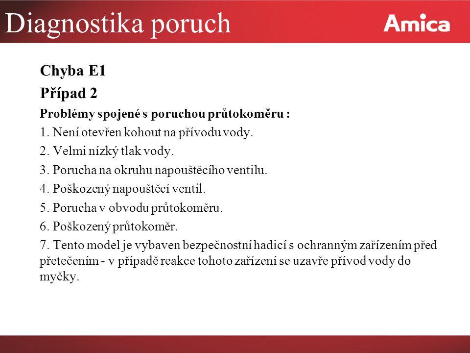 Diagnostika poruch Chyba E1 Případ 2 Problémy spojené s poruchou průtokoměru : 1.