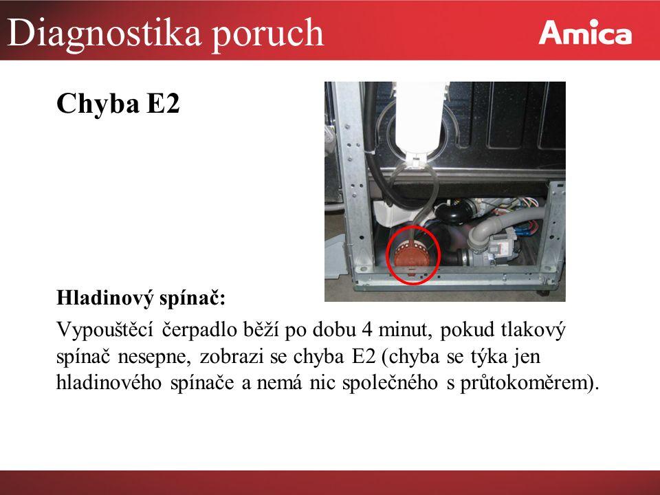 Diagnostika poruch Chyba E2 Hladinový spínač: Vypouštěcí čerpadlo běží po dobu 4 minut, pokud tlakový spínač nesepne, zobrazi se chyba E2 (chyba se týka jen hladinového spínače a nemá nic společného s průtokoměrem).