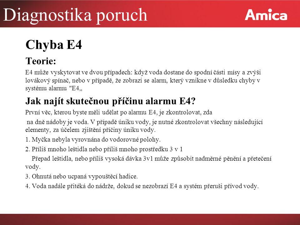 """Diagnostika poruch Chyba E4 Teorie: E4 může vyskytovat ve dvou případech: když voda dostane do spodní části mísy a zvýši lovákový spínač, nebo v případě, že zobrazi se alarm, který vznikne v důsledku chyby v systému alarmu E4"""" Jak najít skutečnou příčinu alarmu E4."""