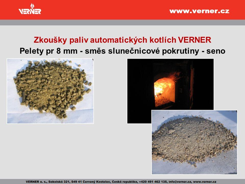 Zkoušky paliv automatických kotlích VERNER Pelety pr 8 mm - směs slunečnicové pokrutiny - seno