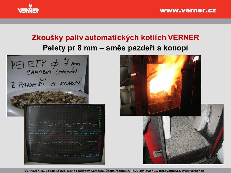 Zkoušky paliv automatických kotlích VERNER Pelety pr 8 mm – směs pazdeří a konopí
