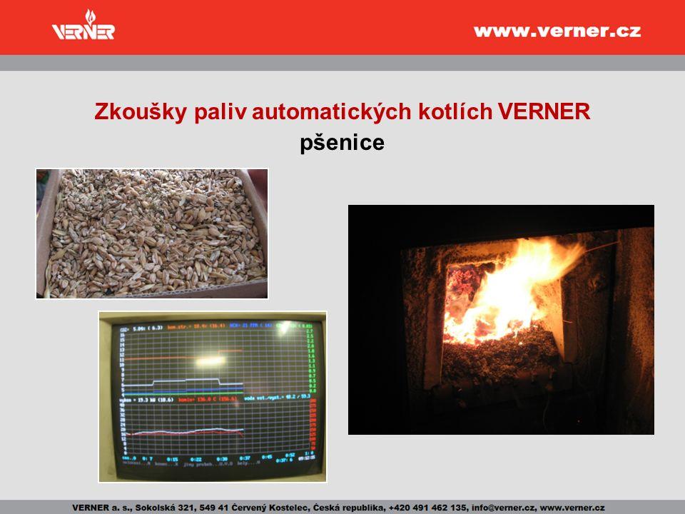 Zkoušky paliv automatických kotlích VERNER pšenice