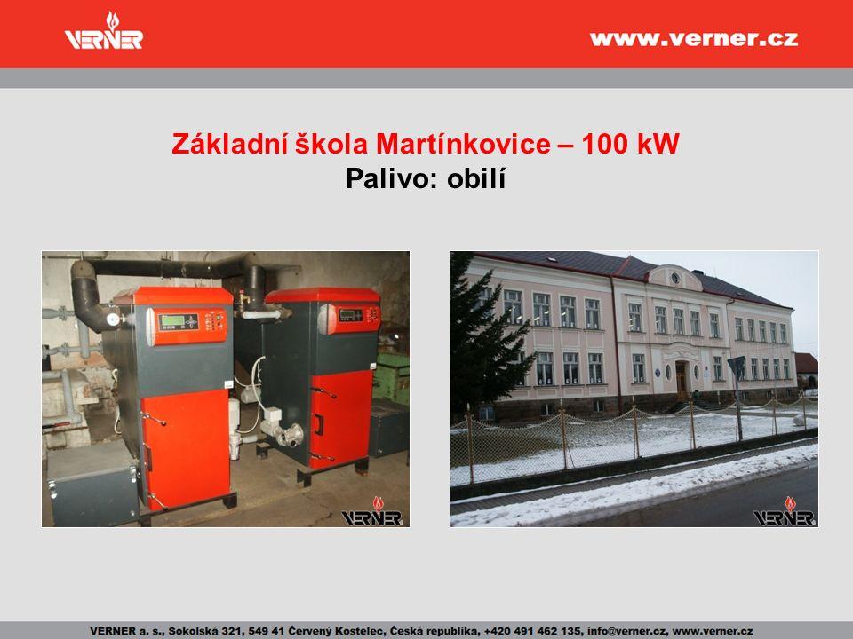 Základní škola Martínkovice – 100 kW Palivo: obilí