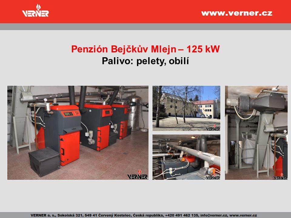Penzión Bejčkův Mlejn – 125 kW Palivo: pelety, obilí