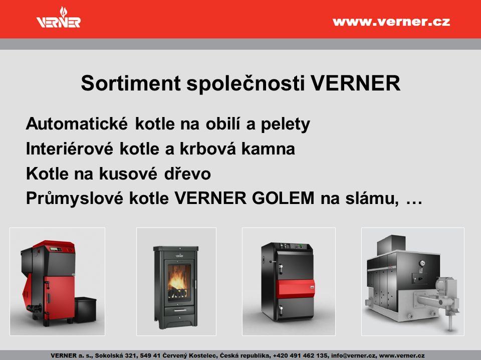 Sortiment společnosti VERNER Automatické kotle na obilí a pelety Interiérové kotle a krbová kamna Kotle na kusové dřevo Průmyslové kotle VERNER GOLEM