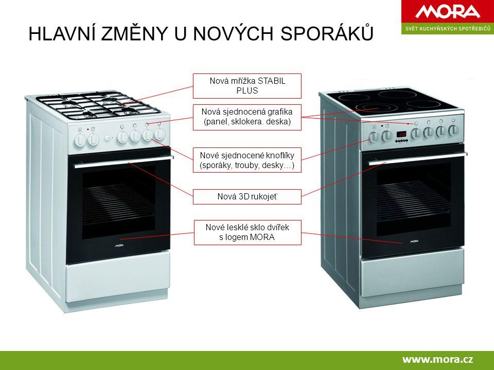 www.mora.cz HLAVNÍ ZMĚNY U NOVÝCH SPORÁKŮ Nová mřížka STABIL PLUS Nová sjednocená grafika (panel, sklokera.