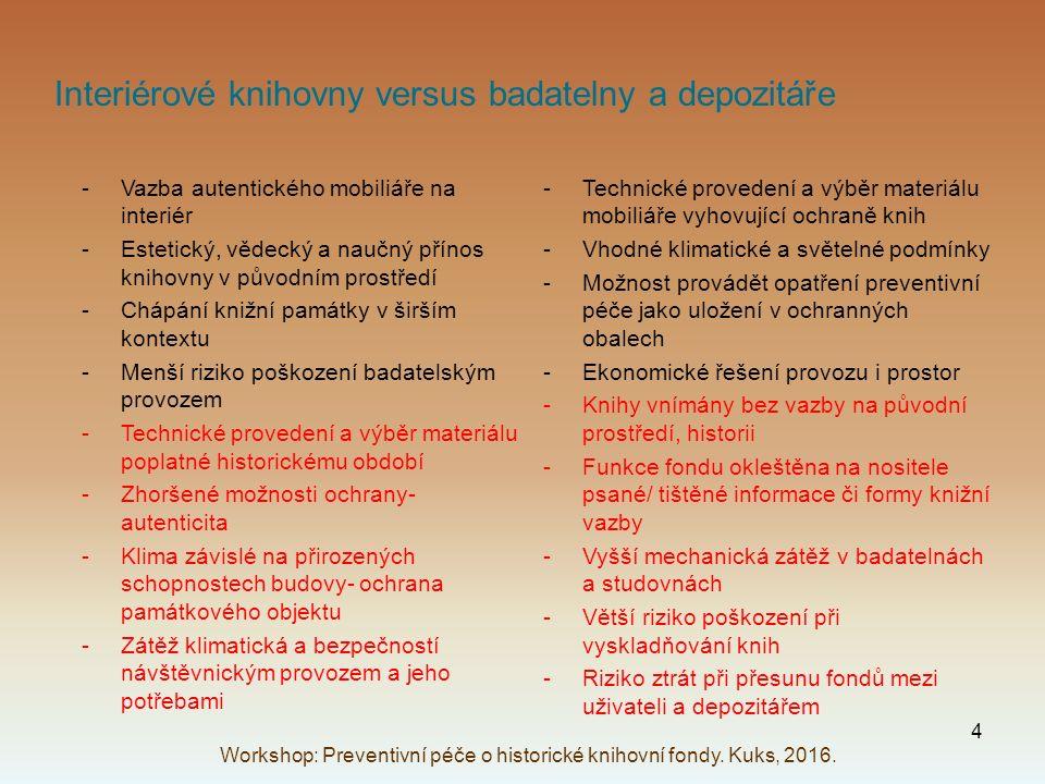 Interiérové knihovny versus badatelny a depozitáře -Vazba autentického mobiliáře na interiér -Estetický, vědecký a naučný přínos knihovny v původním p