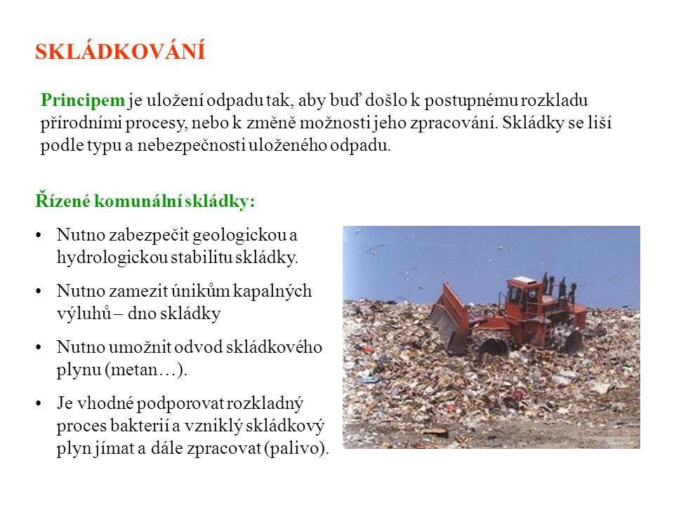 SKLÁDKOVÁNÍ Řízené komunální skládky: Nutno zabezpečit geologickou a hydrologickou stabilitu skládky.