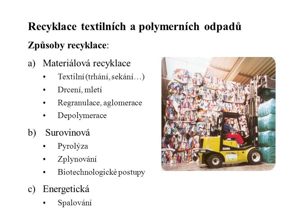 Recyklace textilních a polymerních odpadů Způsoby recyklace: a)Materiálová recyklace Textilní (trhání, sekání…) Drcení, mletí Regranulace, aglomerace Depolymerace b) Surovinová Pyrolýza Zplynování Biotechnologické postupy c)Energetická Spalování