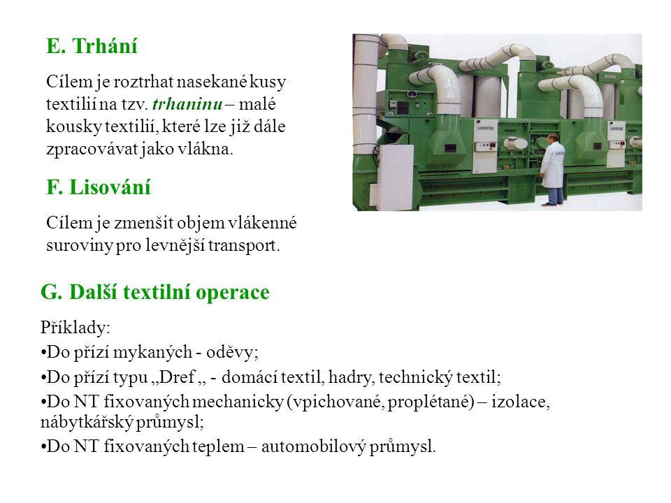 Princip: Mechanické rozdrcení textilního odpadu do formy granulí, nebo prášku.