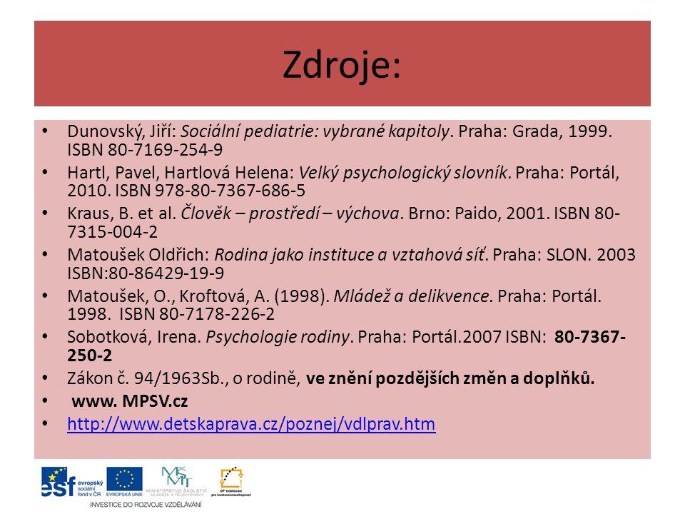 Zdroje: Dunovský, Jiří: Sociální pediatrie: vybrané kapitoly.