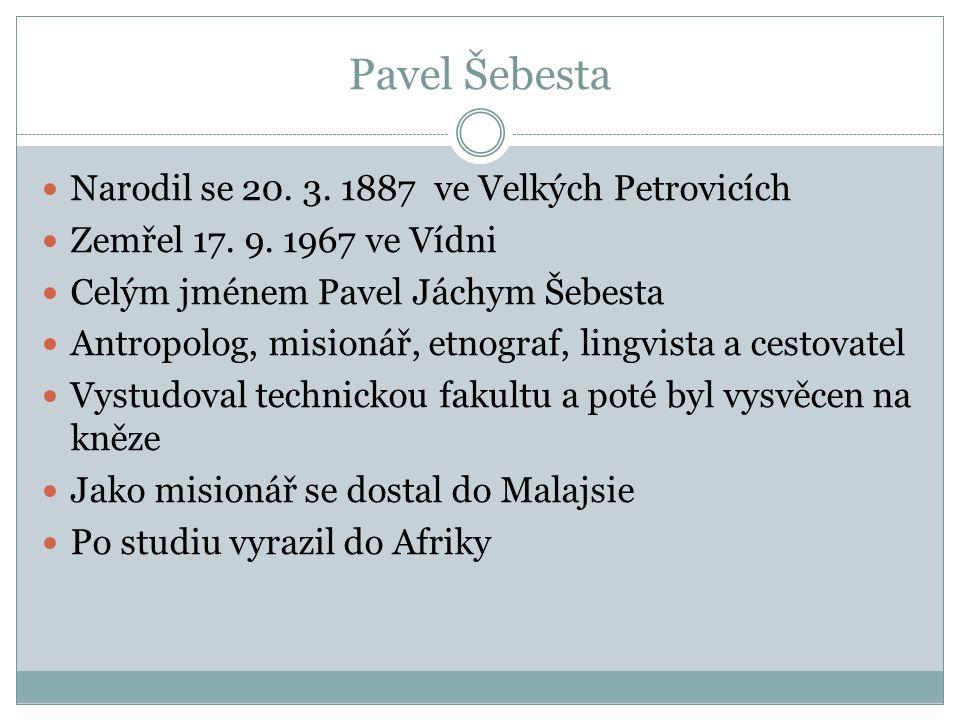 Pavel Šebesta Narodil se 20. 3. 1887 ve Velkých Petrovicích Zemřel 17. 9. 1967 ve Vídni Celým jménem Pavel Jáchym Šebesta Antropolog, misionář, etnogr