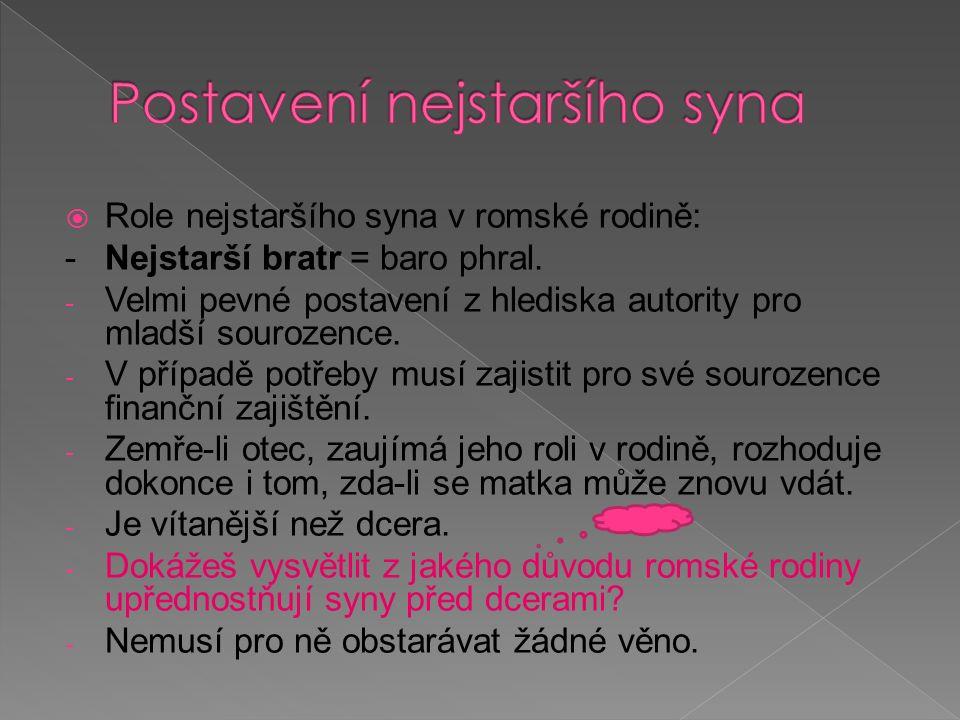  Role nejstarší dcery v romské rodině: - Nejstarší sestra = bari phen - Role není přesně definována.