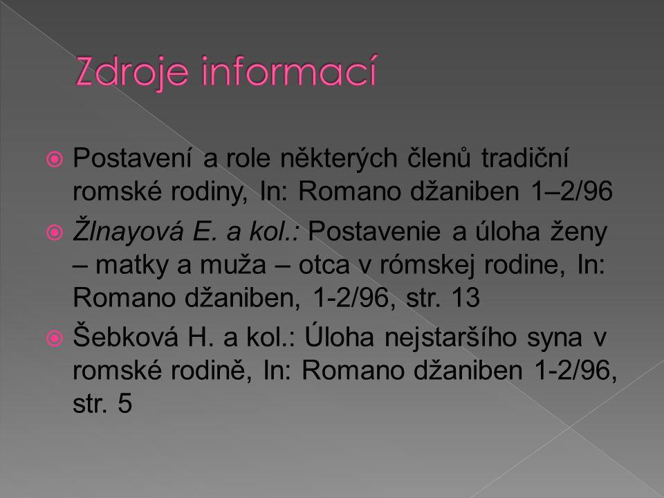  Postavení a role některých členů tradiční romské rodiny, In: Romano džaniben 1–2/96  Žlnayová E. a kol.: Postavenie a úloha ženy – matky a muža – o